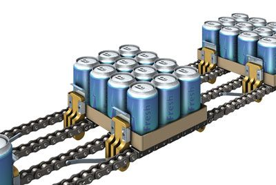 Special roller chain for use in the brewery and beverage industry