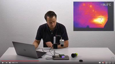 Infrared camera with microscope optics for electronics developers